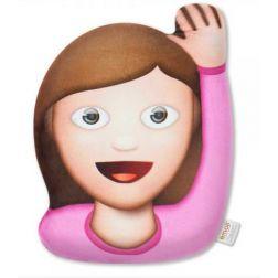 Emoticono mujer saludando