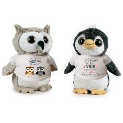 Peluche Búho o Pingüino Personalizado