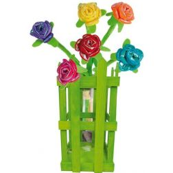 ROSAS BRILLANTES CON DISPLAY MADERA 30 CM,
